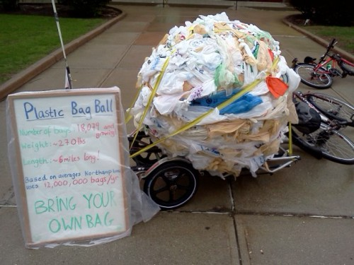 ball of plastic bags