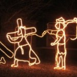 The life of Jesus in Christmas lights