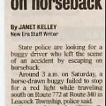 Buggy driver flees crash on horseback